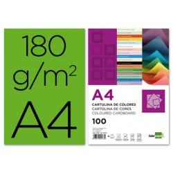 Cartulina Liderpapel color verde a4 180 g/m2