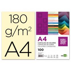 Cartulina Liderpapel color crema a4 180 g/m2
