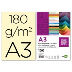 Cartulina Liderpapel color crema a3 180 g/m2