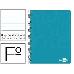 Cuaderno espiral liderpapel write folio tapa blanda 80h 60gr rayado horizontal con margen color turquesa