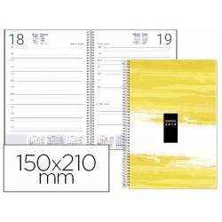 Agenda 2019 Espiral Syros Dia pagina DIN A5 color Amarillo Liderpapel