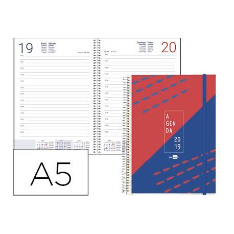 Agenda 2019 Espiral Tinos Dia pagina Din A5 Rojo personalizable de Liderpapel