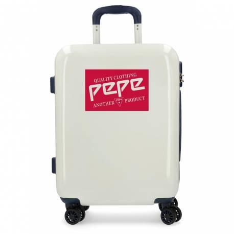 Maleta de cabina rígida 40 cm x 55 cm x 20 cm Pepe Jeans Quality Blanca