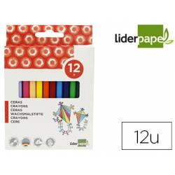 Caja lápices de cera 12 colores Liderpapel