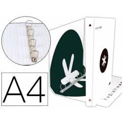 Carpeta 4 anillas 40 mm Liderpapel Antartik A4 color blanco carton forrado