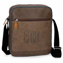 Bandolera Pepe Jeans 27x23x6 cm de Piel Sintetica Max marron Porta tablet