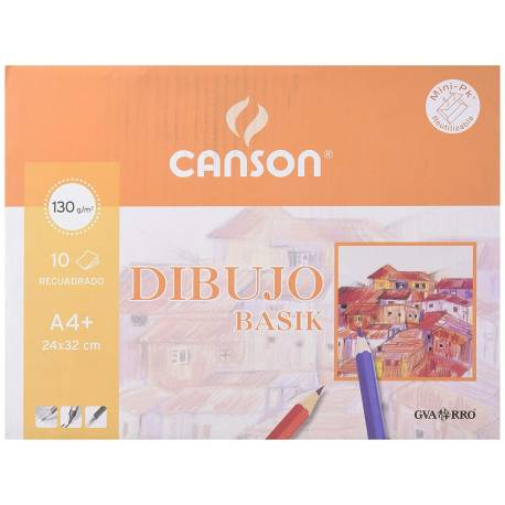 Papel dibujo Canson din a4 gramaje 130 g/m2 Minipack 10 hojas