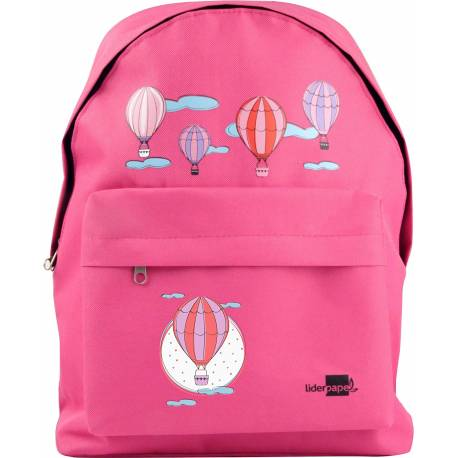 CARTERA ESCOLAR LIDERPAPEL MOCHILA GLOBOS COLOR ROSA 380X280X120MM