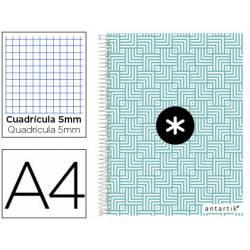 Cuaderno espiral Antartik Din A4 Tapa forrada 100g/m2 Turquesa