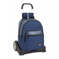 Mochila Escolar Blackfit8 42x32x15 cm Poliester Azul oscuro Con carro
