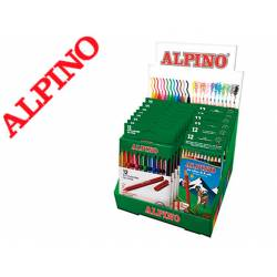 Caja de 12 rotuladores Alpino con 12 colores distintos + 6 lápices de color Alpino 654