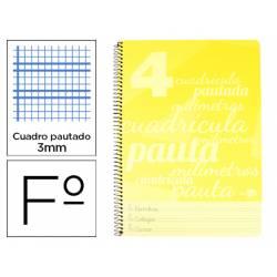 Cuaderno espiral Liderpapel Folio Tapa plastico 80g/m2 Amarillo