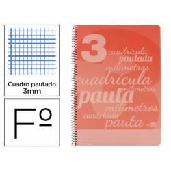 Cuaderno espiral Liderpapel Folio Tapa plastico Pautado Con Margen 80g/m2 Rojo
