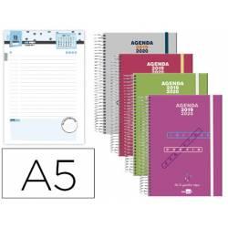 Agenda Escolar 19-20 Dia pagina DIN A5 con Espiral Bilingüe Liderpapel College Polipropileno No se puede elegir color