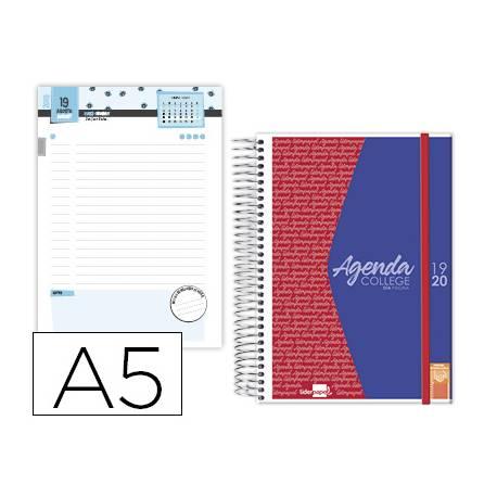 Agenda Escolar 19-20 Dia pagina DIN A5 con Espiral Bilingüe Liderpapel College Personalizable
