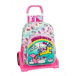 Mochila Escolar Hello Kitty 42x33x14 cm Poliester Candy Unicorns Con carro