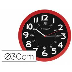 Reloj de pared de Q-Connect rojo 30 cm