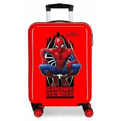 Maleta de cabina rígida Spiderman Geo roja 55x38x20cm