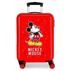 Maleta de cabina Mickey letras rígida roja 55x38x20cm