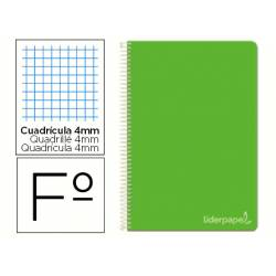 Cuaderno espiral Liderpapel Witty Tamaño Folio Tapa dura Cuadricula 4mm 75 g/m2 Verde Con margen