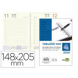 Recambio agenda anillas 2020 Liderpapel 14,8X20,5cm Dia pagina