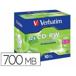 CD-RW VERBATIM SERL CAPACIDAD 700MB VELOCIDAD 12X 80 MIN PACK DE 10 UNIDADES