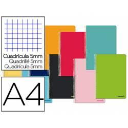Cuaderno espiral Liderpapel 80 hojas DIN A4 Tapa blanda Cuadricula 5 mm 60 g/m2 Colores surtidos (no se puede elegir)