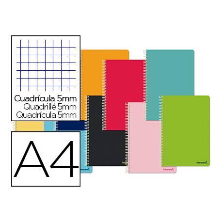 Cuaderno espiral Liderpapel DIN A4 Tapa blanda Cuadricula 5 mm 60 g/m2 Colores surtidos (no se puede elegir)