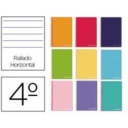 Cuaderno espiral Liderpapel Witty Tamaño cuarto Tapa dura Rayado horizontal 75 g/m2 Con margen Colores surtidos