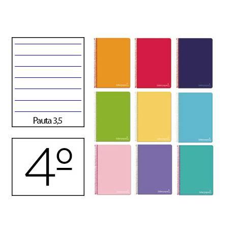 Cuaderno espiral Liderpapel Tamaño cuarto Tapa dura Pauta ancha 3,5 mm 75 g/m2 Con margen Colores surtidos (no se puede elegir)