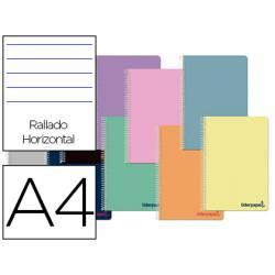 Cuaderno espiral Liderpapel Wonder Tamaño DIN A4 Tapa plastico Rayado horizontal 90 g/m2 Con margen Colores Surtidos