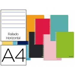 Cuaderno espiral Liderpapel Jolly Tamaño DIN A4 Tapa forrada Rayado Horizontal 75 g/m2 5 bandas 4 taladros Colores surtidos