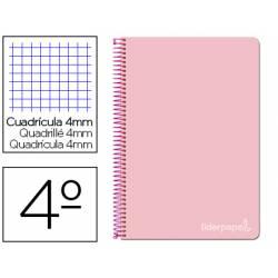 Cuaderno espiral Liderpapel Witty Tamaño cuarto Tapa dura 80 hojas Cuadricula 4 mm 75 g/m2 Con margen color Rosa