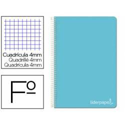 Cuaderno espiral Liderpapel Witty Tamaño folio 80 hojas Tapa dura Cuadricula 4 mm 75 g/m2 Con margen color Celeste