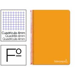 Cuaderno espiral Liderpapel Witty Tamaño folio 80 hojas Tapa dura Cuadricula 4 mm 75 g/m2 Con margen color Naranja