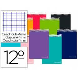 Cuaderno espiral Liderpapel Smart Tamaño Doceavo Tapa blanda Cuadricula 4 mm 60 g/m2 Apaisado Colores surtidos