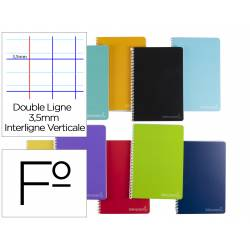 Cuaderno espiral Liderpapel Witty Tamaño folio Tapa dura Rayado Montessori 3,5 mm 75 g/m2 Colores surtidos