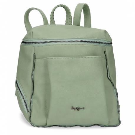 Bolso mochila Pepe Jeans 35x27x14 cm verde de piel sintética.