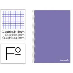 Cuaderno espiral Liderpapel folio smart Tapa blanda 80h 60gr cuadro 4mm con margen Color violeta