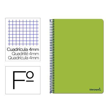 Cuaderno espiral Liderpapel folio smart Tapa blanda 80h 60gr cuadro 4mm con margen Color verde