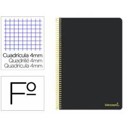 Cuaderno espiral Liderpapel folio smart Tapa blanda 80h 60gr cuadro 4mm con margen Color negro