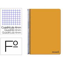 Cuaderno espiral Liderpapel folio smart Tapa blanda 80h 60gr cuadro 4mm con margen Color naranja