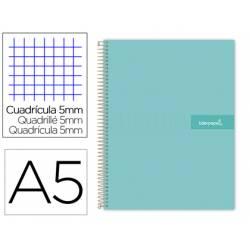 Bloc liderpapel Din A5 micro crafty cuadrícula 5mm 120 hojas tapa forrada 90 gr color azul.