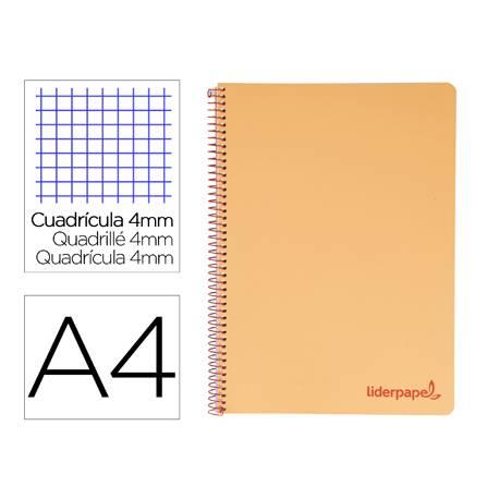 Bloc Liderpapel Din A4 wonder cuadrícula 4mm tapa polipropileno 90 gr color naranja