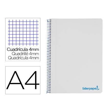 Bloc Liderpapel Din A4 wonder cuadrícula 4mm tapa polipropileno 90 gr color gris