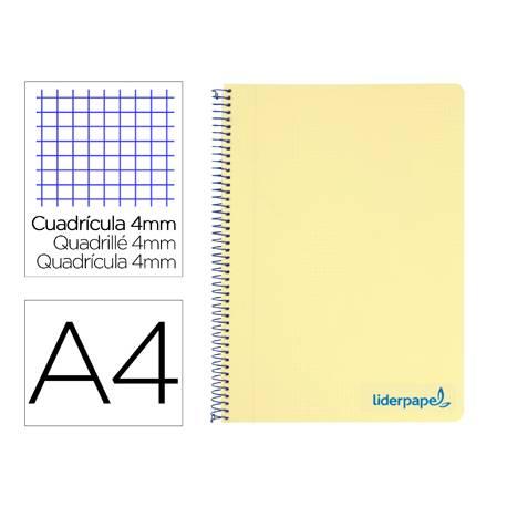 Bloc Liderpapel Din A4 wonder cuadrícula 4mm tapa polipropileno 90 gr color amarillo