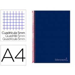 Bloc Liderpapel Din A4 micro jolly cuadrícula 5mm 5 bandas 4 taladros tapa forrada 75 gr color azul