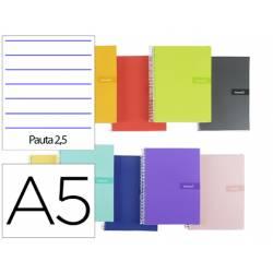 """Bloc Liderpapel DIN A5 crafty pauta estrecha 2,5mm con margen tapa forrada 90 gr color """"no se puede elegir"""""""