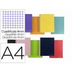 """Bloc Liderpapel DIN A4 micro jolly cuadro 4mm 5 bandas 4 taladros tapa forrada 75 gr color """"no se puede elegir"""""""