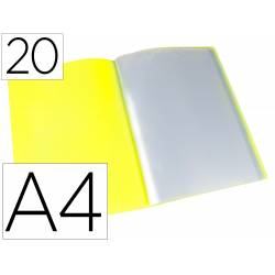 Carpeta escaparate Liderpapel DIN A4 poliporpileno con 20 fundas color amarillo